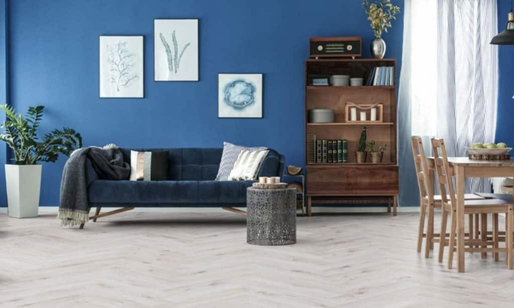 TC Matthews Wood Flooring Herringbone Effect Shown in Living Area